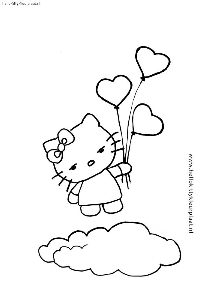 Hello Kitty met ballonnen en wolk
