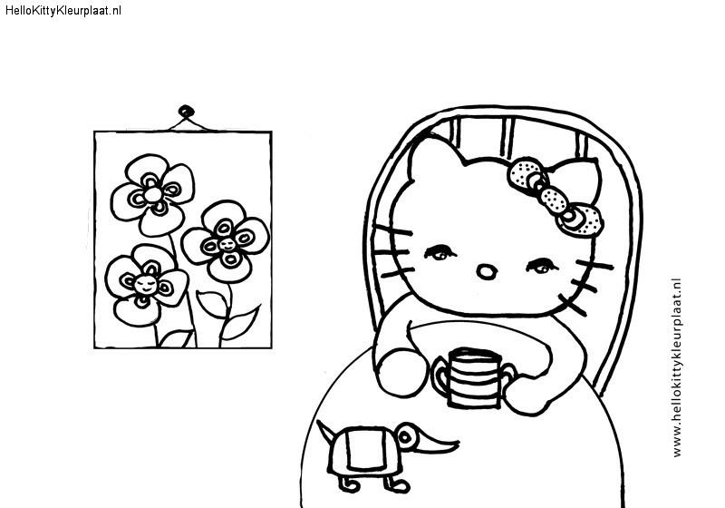 Hello Kitty kleurplaat met schilderij en drie bloemen
