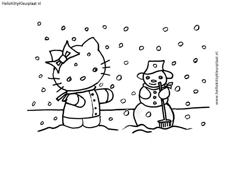 Hello Kitty met sneeuwpop
