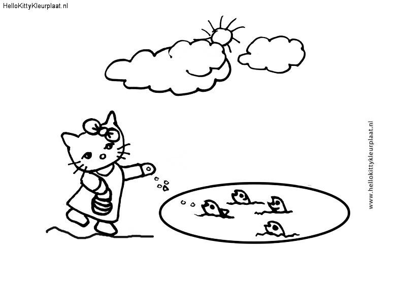 Hello Kitty voert visjes