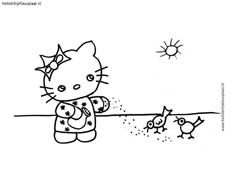 Hello Kitty voert vogeltjes