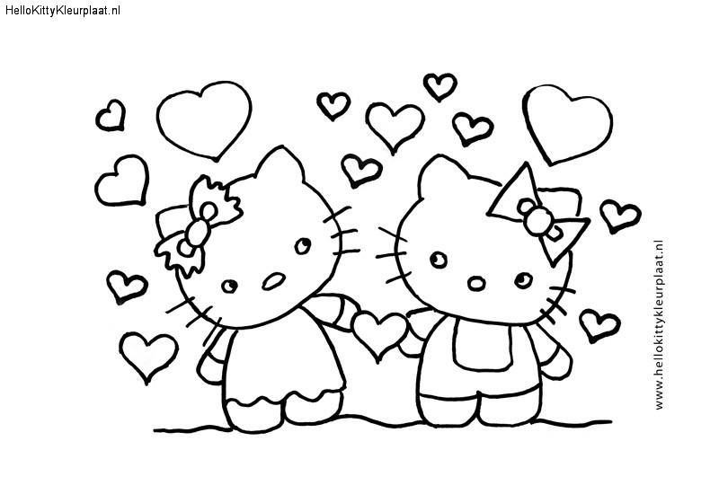 Hello Kitty kleurplaat are you my valentine?