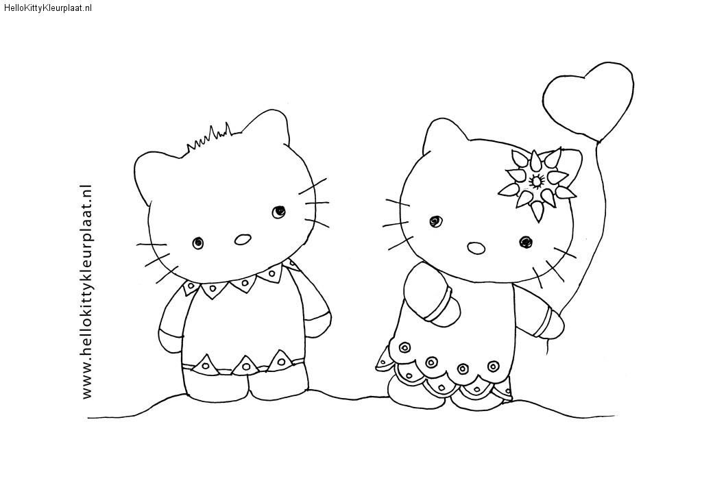 Hello Kitty is blij met de ballon die ze heeft gekregen van Dear Daniel