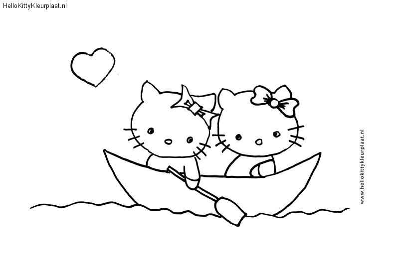 Hello Kitty in een bootje Kleurplaat