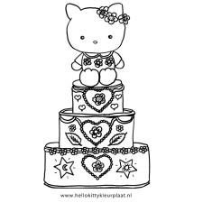 Hello Kitty kleurplaat verjaardagstaart