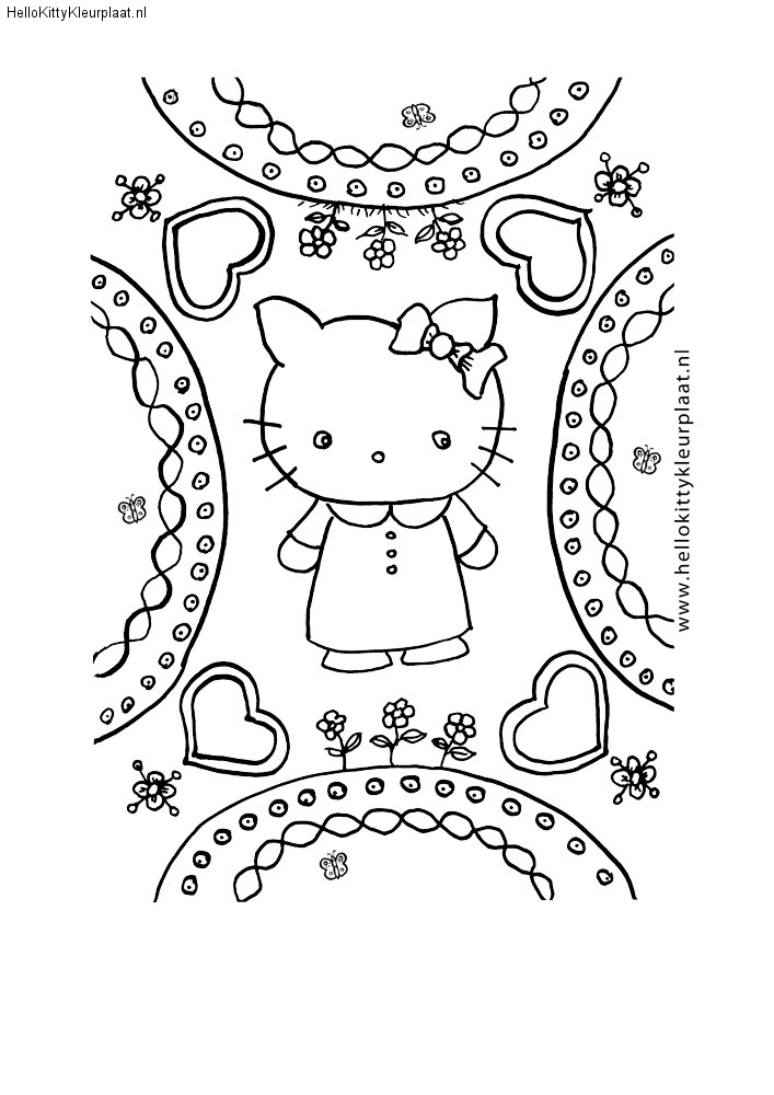 Hello Kitty mandala met hartjes