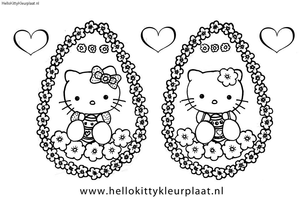 Bloemen paasei voor Mimmy en Hello Kitty
