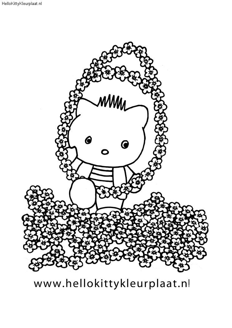 Dear Daniel heeft een bloemen paasei voor Hello Kitty
