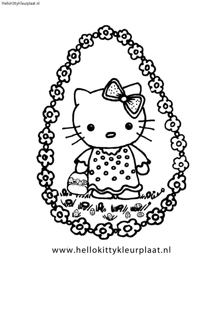 Hello Kitty met een mand voor paaseieren en bloemen