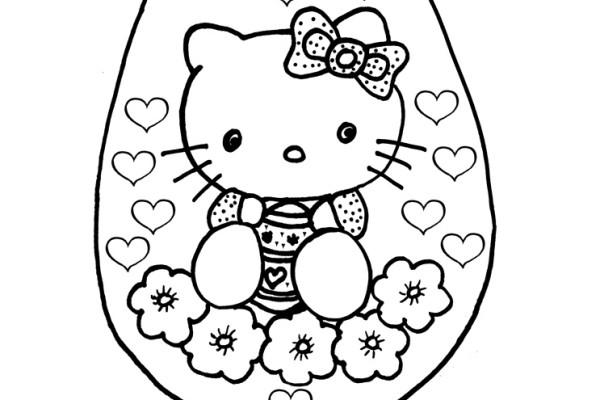 Kleurplaat Hello Kitty met Hartjes en Bloemen voor Pasen