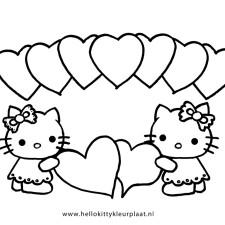 Kleurplaten Hello Kitty Met Hartjes.Hello Kitty Kleurplaat