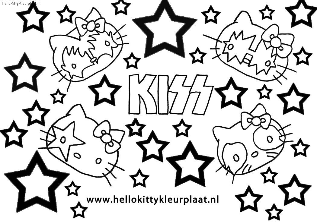 Kleurplaat Hello Kitty samen met KISS