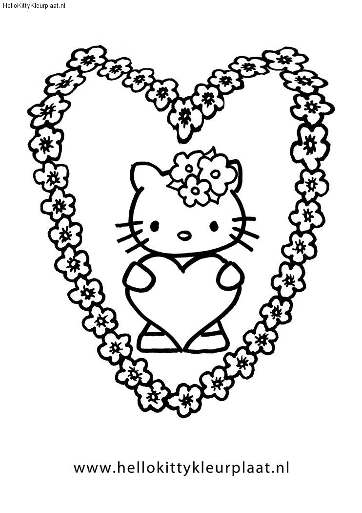 Kleurplaat bloemen hart