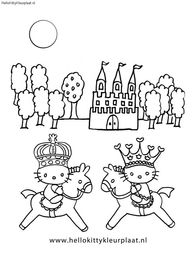 Paarden met prins en prinses kleurplaten