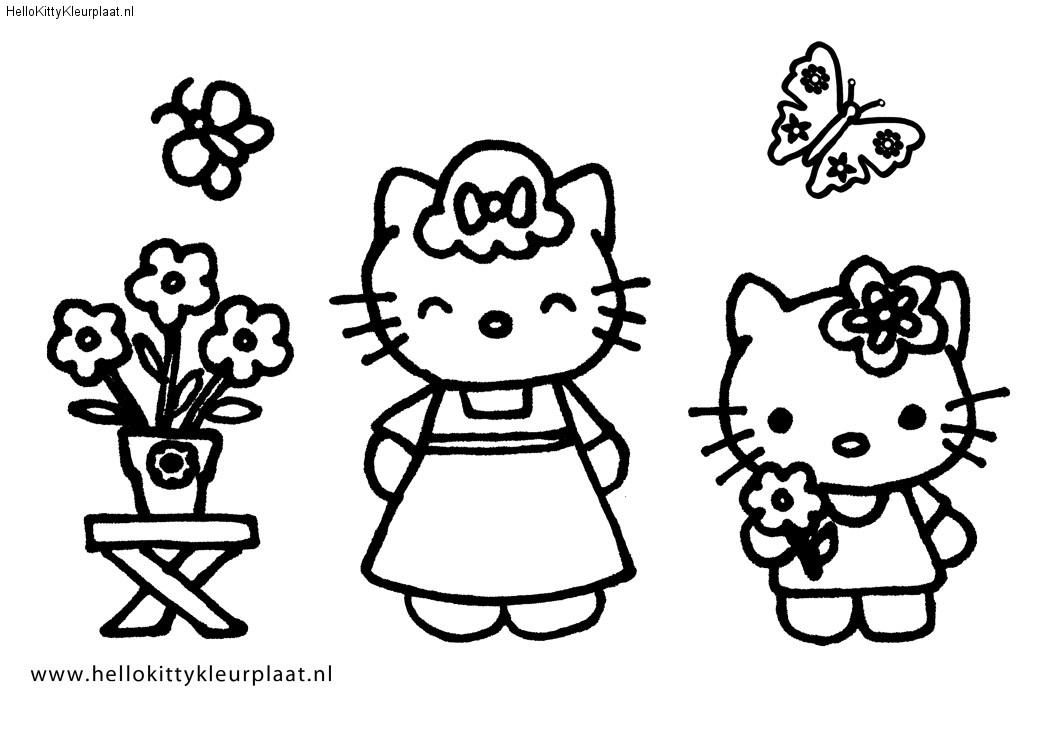 Hello Kitty kleurplaat bloemen voor mama