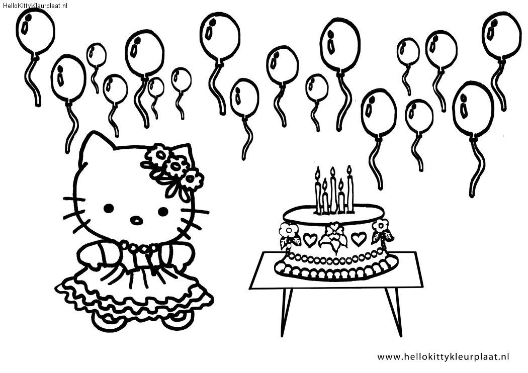 kleurplaten van hello kitty verjaardag