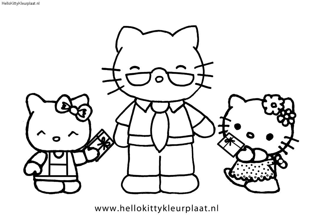 Hello Kitty Vaderdag kleurplaat