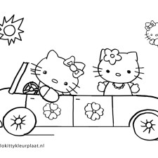 hello-kitty-kleurplaten-auto
