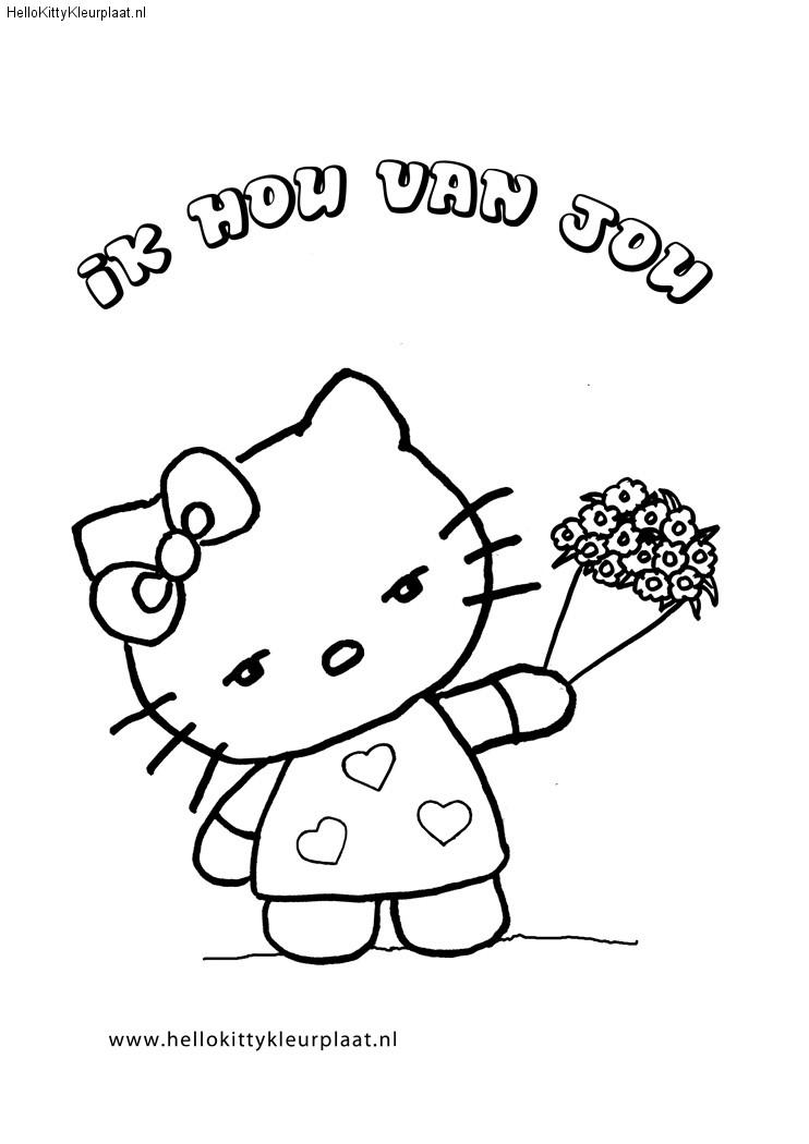 Hello Kitty Kleurplaten bloemen