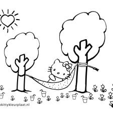 kleurplaten-zomer-vakantie-hello-kitty-in-hangmat