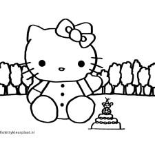 Hello-Kitty-moederdag-kleurplaat-taart