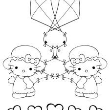 Hello-Kitty-kleurplaat-twee-vliegers