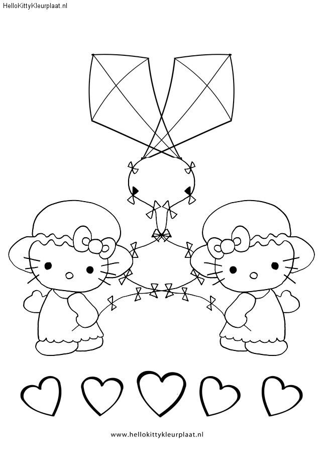 Hello Kitty Kleurplaat Twee Vliegers