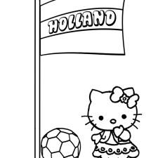 Kleurplaten-Voetbal-Hello-Kitty