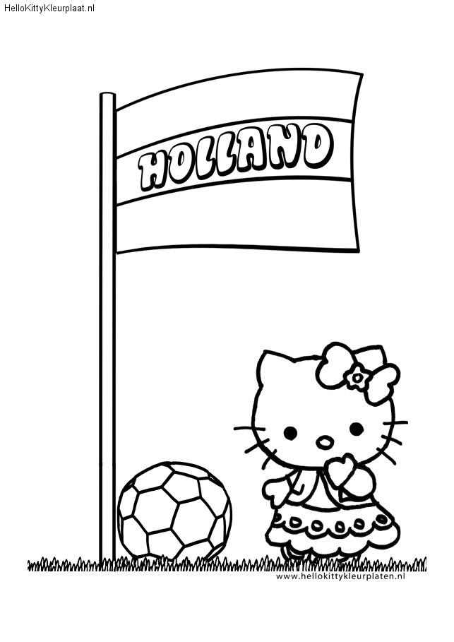 Kleurplaten Voetbal Hello Kitty