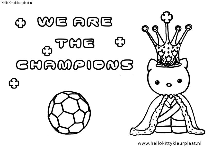 Kleurplaat Voetbal Hello Kitty