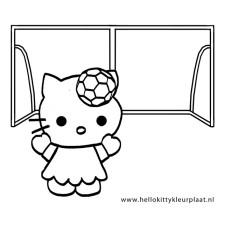 Voetbal-Kleurplaat-Hello-Kitty