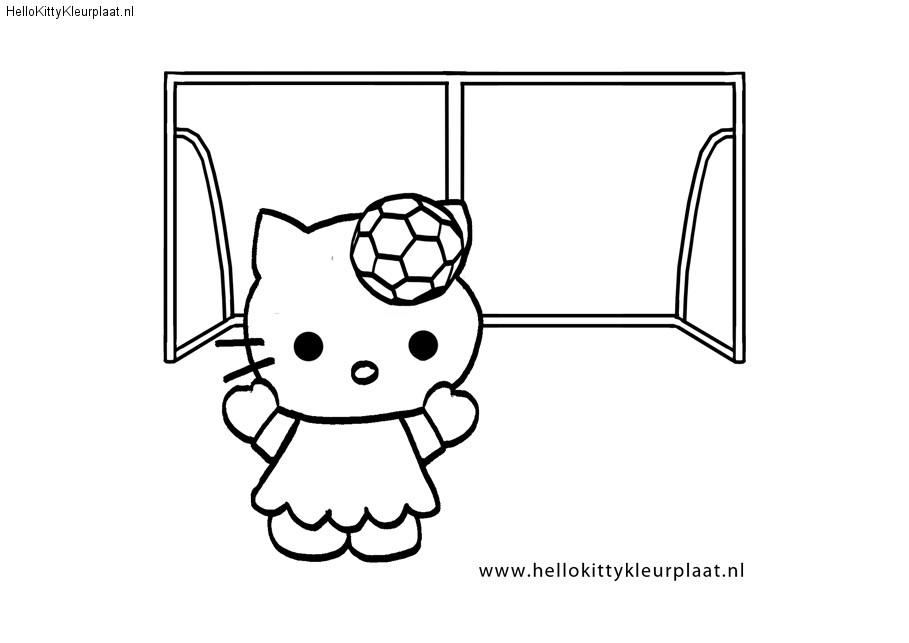 Voetbal Kleurplaat Hello Kitty