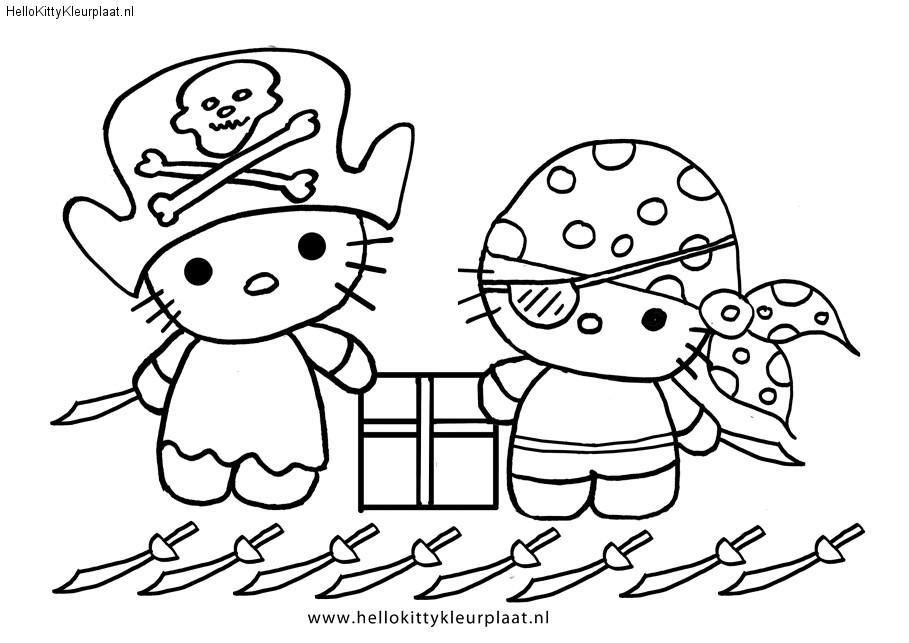 Hello Kitty piraten kleurplaat feest