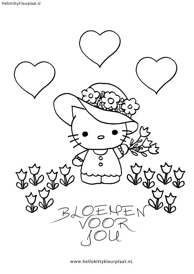 kleurplaat bloemen voor jou