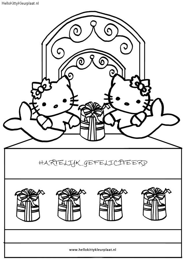 Kleurplaat hartelijk gefeliciteerd hello kitty